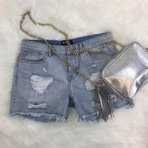 Nasty Gal Cut-Off ripped Torn Denim Jean Shorts